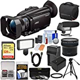 Sony Handycam FDR-AX700 4K HD Video Camera Camcorder with 128GB Card + Battery + Case + LED Light + Microphone + Tripod + Filters + Fisheye Lens + Kit