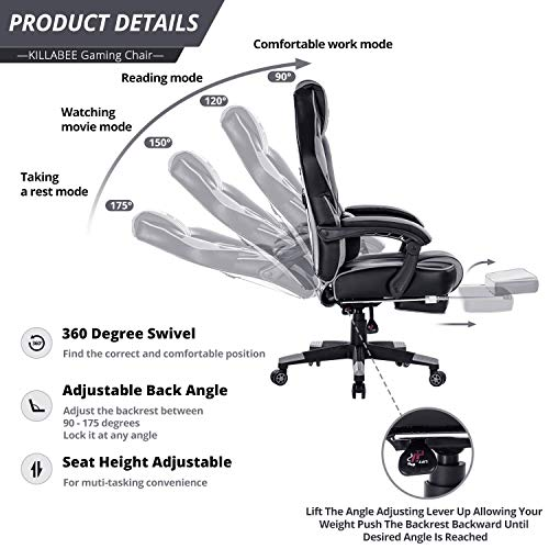 KILLABEE Reclining Memory Foam Racing Gaming Chair - Ergonomic High-Back Racing Computer Desk Office Chair with Retractable Footrest and Adjustable Lumbar Cushion, Grey by KILLABEE (Image #2)