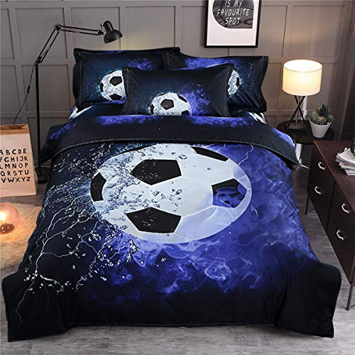 Guidear Blue Flame Soccer Bedding Set for Children Boys,3D Printed Football Quilt Cover Set with 2 Pillowcases,Fire and Ice Duvet Cover with Zipper Closure Queen Size 90