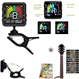 Rechargeable Clip on Tuner for Guitar Ukulele Bass Banjo Vionlin Mandolin Digital Metronome Tuner Tone with free Guitar Fretboard Note Decals sticker