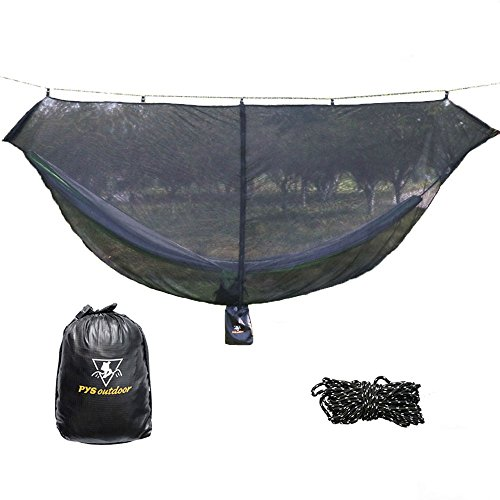 pys Hammock Bug Net - 12' Hammock Mosquito Net Fits All Camping Hammocks. Compact, Lightweight. Fast Easy Setup.Security from Bugs and Mosquitoes. Essential Camping and Survival Gear (12' L x 4.4'' W) by pys