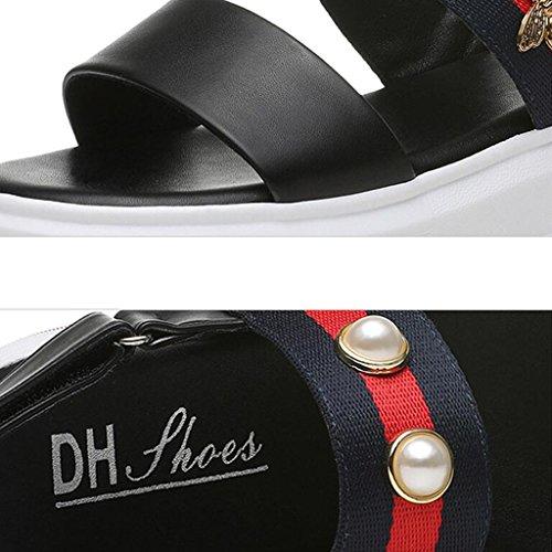Chaussures pour Noir Moyen Sangle Extérieure Sandales Bout Supérieure Femmes Femme Usure PU Talon Ouvert xUWqgnwvZP