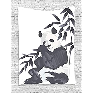 Animal Decor Tapestry by Ambesonne, Giant Panda Bear Sitting in Zoo Traditional Chinese Painting Style Monochromic Picture, Bedroom Living Room Dorm Decor, 40 W x 60 L Inches, Cadet Blue and White
