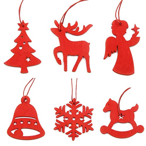 Christmas Ornaments 6PCS White&Red Snowflakes Christmas Wooden Pendants Ornaments for Xmas Tree Ornaments Christmas Party Decorations Kids Gift (Red Mix)