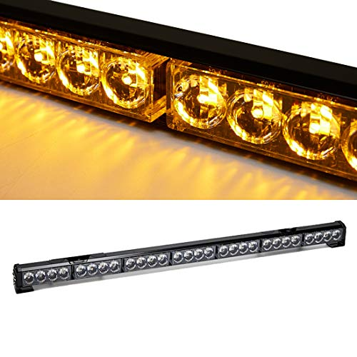 SmallfatW 32 Inch 13 Modes Led Traffic Advisor Emergency Warning Top Roof Vehicles Tow Truck Strobe Directional Waterproof Light Bar (Amber)