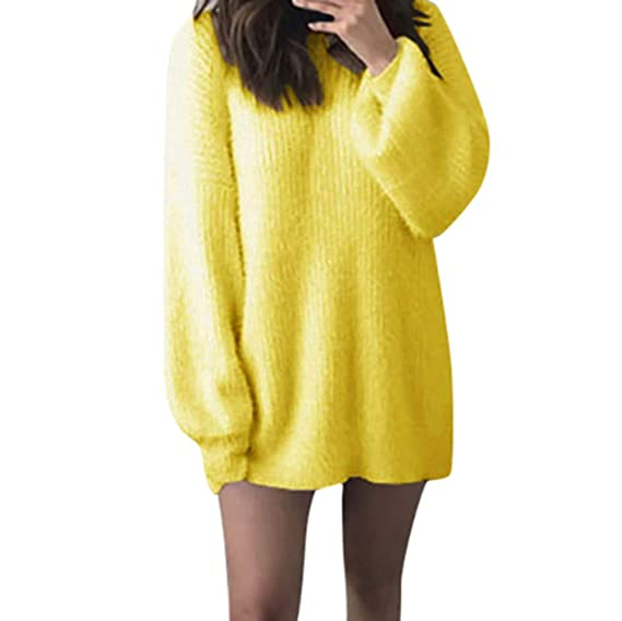 ZODOF Mujeres Floja Ocasional Suéter de Punto Pullover Moda Mujer sólido O-Cuello Suelto de Punto Caliente Manga Larga Latern suéter Blusa: Amazon.es: Ropa ...