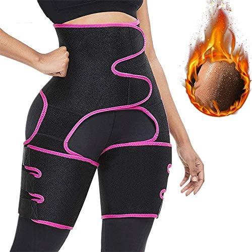 女性のためのスウェットバンドウエストトレーナー、女性の減量のためのボディシェイパー、女性のための太もものトリマー、発汗と循環の増加黄色,ピンク,M