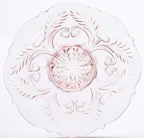 Large Serving Platter Plate - Inverted Thistle - Mosser Glass - USA (Rose Pink)