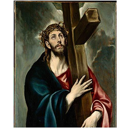 wzgsffs Jesucristo Famoso Lienzo Pintura del Pintor espanol EL Greco Pared Arte Pintura Decorativa Cuadros Sala decoracion -20x28 Pulgadas sin Marco