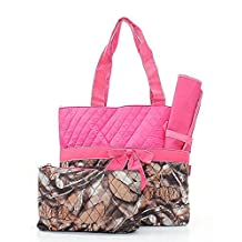 Quilted Camouflage Diaper Bag Baby Changing Pad Cosmetic Bag Pink
