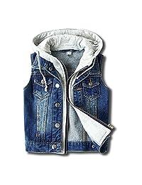 LJYH Boy's Girl's Hooded Denim Vest Kids Sleevveless Jacket