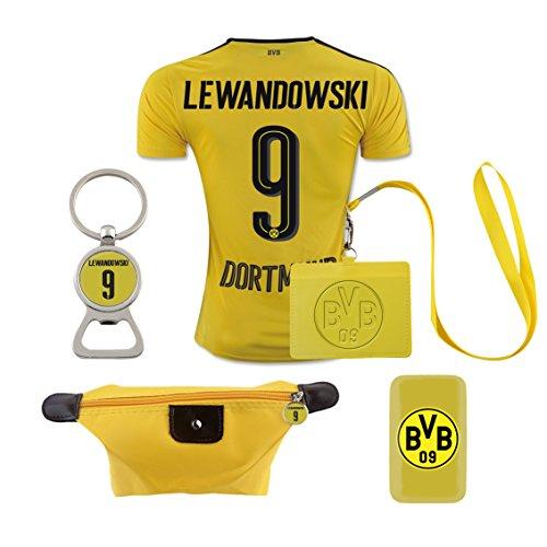 #9 Lewandowski (6 in 1 Combo) Dortmund Home Match Adult Soccer Jersey 2016-17
