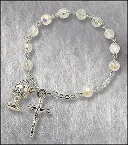 Catholic Girls Rosary Bracelet First Communion Rosary Bracelet, Material: Glass 6 Mm Bead/silver Plate Size: 7