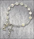 "Catholic Girls Rosary Bracelet First Communion Rosary Bracelet, Material: Glass 6 Mm Bead/silver Plate Size: 7"" L"