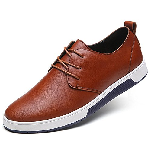 ZZHAP Men's Casual Oxford Shoes Breathable Flat Fashion Sneakers 02Brown US 12