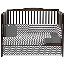 BabyDoll Chevron Dot Crib Bedding Set, Grey