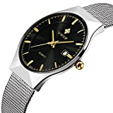 Fashion Mens Watch Mesh Band Japanese Analog Quartz Movt Thin Dial Date Wrist Watches,Black