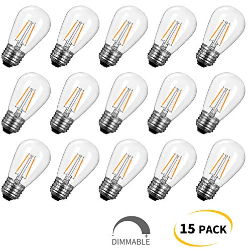 15-Pack Shatterproof LED S14 Replacement Light Bulbs- E26 E27 Medium Candelabra Screw Base Edison Bulbs Equivalent to 11 W, fits for Commercial Outdoor Patio Garden Vintage Lights, Warm White