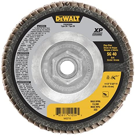 DEWALT DW8254 4-1//2-Inch by 5//8-Inch-11 40g XP Flap Disc