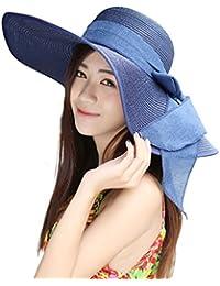 Womens Big Bowknot Straw Hat Floppy Foldable Roll up Beach Cap Sun Hat UPF  50+ 2e6241714be