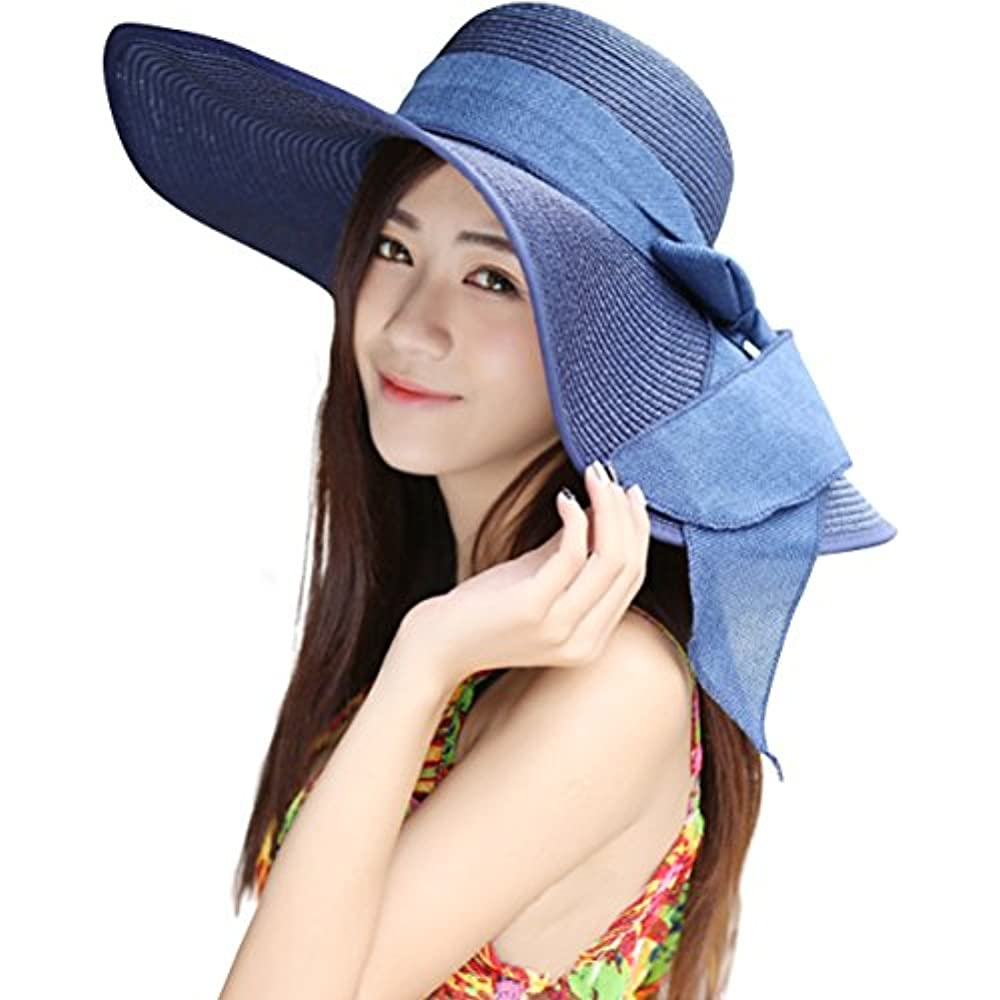 52631405 Details about Womens Sun Hats Big Bowknot Straw Floppy Foldable Roll Up Beach  Cap UPF 50+