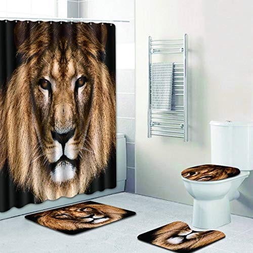 - R-ANSXYX 4 Piece Bathroom Set,Animal Lion Waterproof Shower Curtain Non-Slip Contour Rug Toilet Lid Cover and Bath Mat