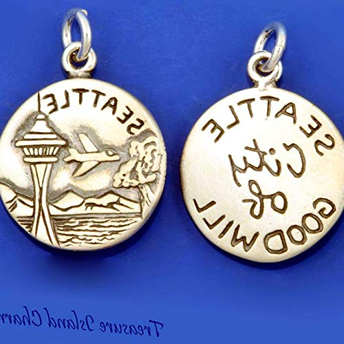Lot of 1 Pc. Seattle Washington City of Goodwill Space Needle 925 Sterling Silver Round Charm Vintage Crafting Pendant Jewelry Making Supplies - DIY for Necklace Bracelet Accessories by CharmingSS