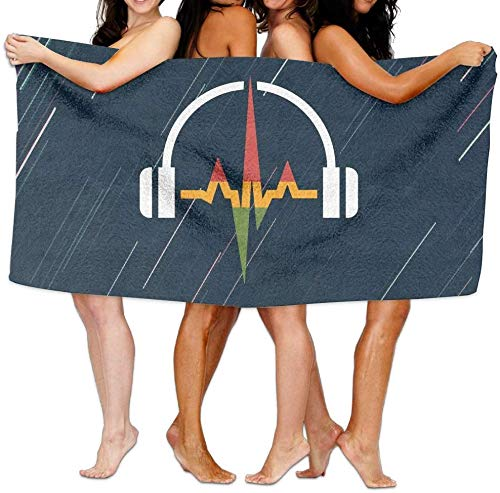 Song Shop Mall Rasta Headphones and Music Wave Over-Sized Cotton Beach Bath Towels (Rasta Colored Headphones)
