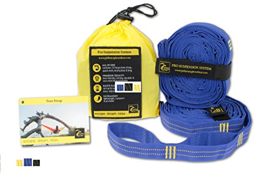 Hammock Tree Straps Pro. 100% No Stretch Polyester Suspension System Kit Heavy Duty. 23 Loops Each. Great Gift. Camping Hammock Accessories. PREMIUM QUALITY. (blue)