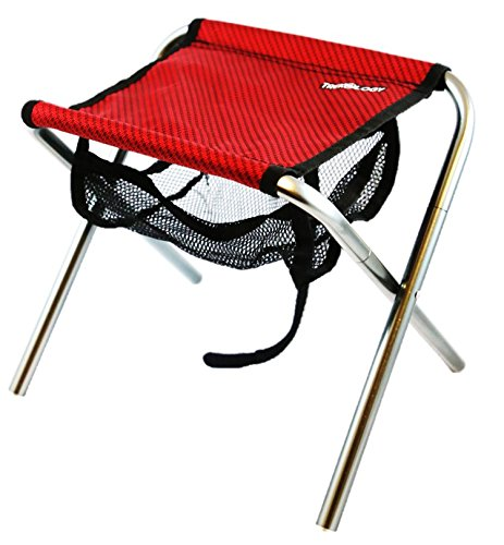 Trekology Portable Folding Stool, Ultralight Compact Footrest Stool, Mesh bag for Storage, Support 250lb Sitting Weight, Great for a Quick Rest Outdoors and for Chores Close to the Ground (Red)