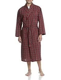 Men's Big-Tall Woven Shawl Collar Robe Red Plaid