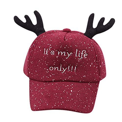 Fheaven (TM) Baby Hat Cute Kids Child Visor Cap Letter Bongrace Antlers Christmas Hat Peak Baseball Cap (Wine) ()
