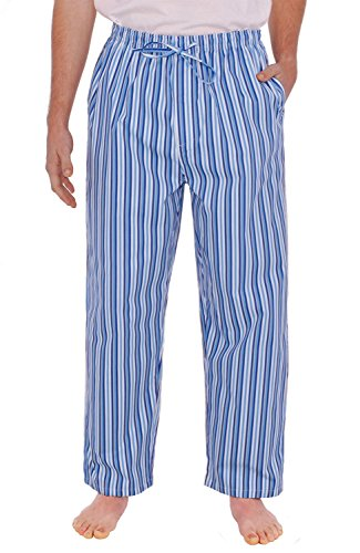 Alexander Del Rossa Mens Cotton Pajama Pants, Long Woven Pj Bottoms, Large Dark Blue and White Striped (Striped Pajama Pants)