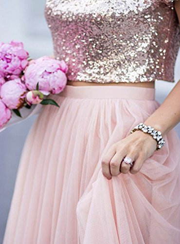 Rose Sleeve Promlink Dress Bridesmaid Long Two Piece Sequin Gown Gold Evening Tulle Cap kX8PnON0w