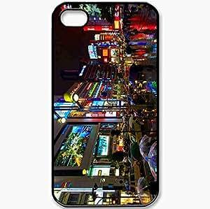 Protective Case Back Cover For iPhone 4 4S Case Megalopolis Reflection Light Asphalt Wet Black