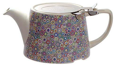 The London Pottery Co & Kaffe Fassett A03557 Ceramic Teapot with Infuser, 26.5 fl. oz. , Paperweight Purple