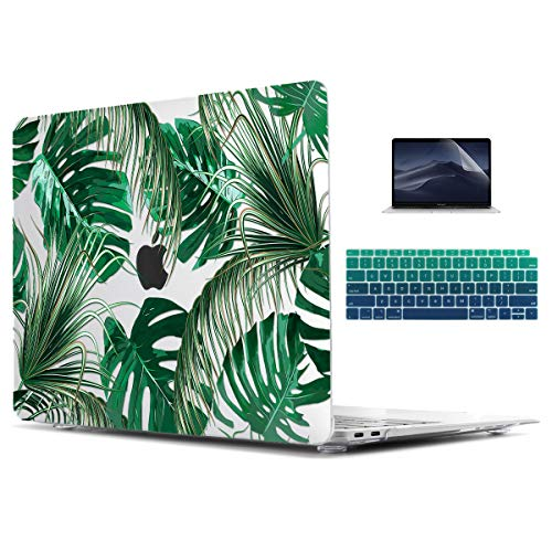 TwoL Tropical Palm Leaves Hard Shell Case Keyboard Cover Screen Protector for 2010-2017 MacBook Air 13 inch A1466/A1369
