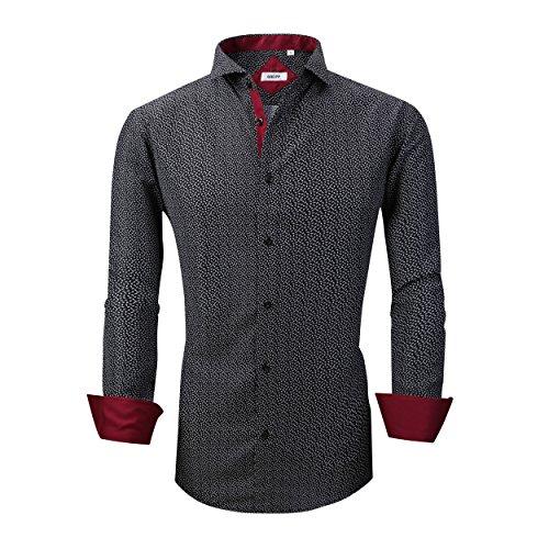 (GOEPP Dress Shirts for Men - Long Sleeve Casual Cotton Spread Collar Shirt,Slim Fit (Black,M))