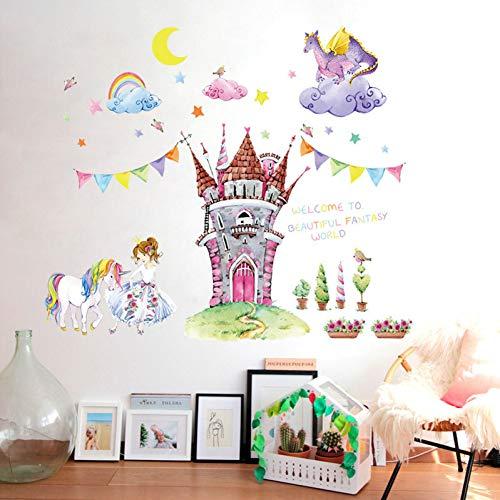 (ZYBKOG Wall Sticker Fairy Tale World Castle Cartoon Wall Stickers Beautiful Princess Unicorn Dragon Clouds Kids Room Decor Girl Bedroom Wall Decals)