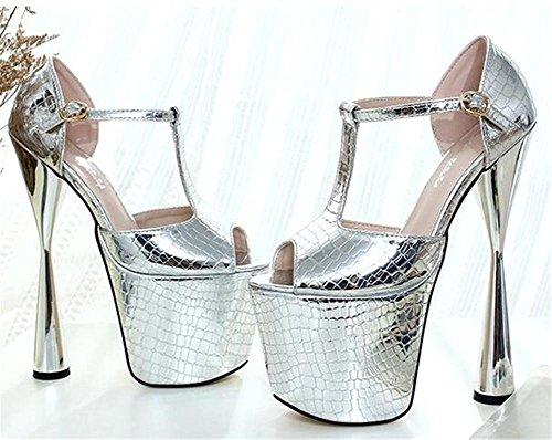 GAOGENX da 35 41 Club Dito sandali Tacco Nozze piede Scarpe Aperto Pompe del spillo e serata a EU38 donna Festa da piattaforma a 1H8wn1q5r