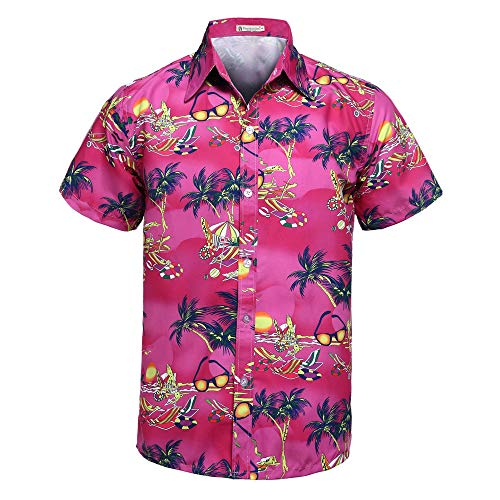 GUJMin Men's Shirt Short Sleeve Loose Couple Print Shirt Women's Hawaiian Beach Shirt(Plum Red S2,XXL