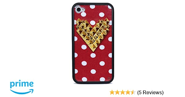 huge discount 56862 e2053 Wildflower Cases Trendy Cute Red Polka Dot Gold Heart Studded Case for  iPhone 4/4S
