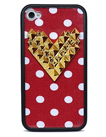 the latest 0d88e e4e62 Wildflower Cases Trendy Cute Red Polka Dot Gold Heart Studded Case ...