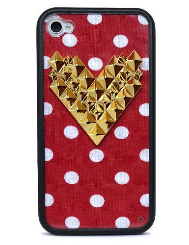 huge discount 5db2b 49797 Wildflower Cases Trendy Cute Red Polka Dot Gold Heart Studded Case for  iPhone 4/4S