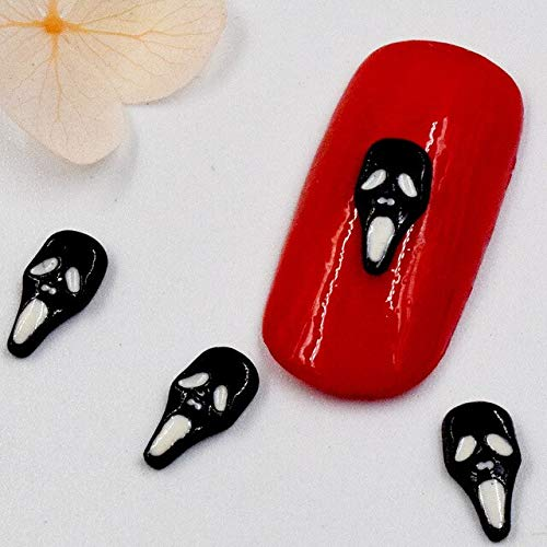 Kamas 10pcs 3D Halloween Black and White Ghost Alloy Nail Art DIY Nail Decorations Manicure Tools SS326 - (Color: Black)]()