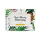 Unique 4th Wedding Anniversary Memory Book with Stickers and A Matching Card - 5-Second Memory Journal For Your Special Fruits&Flowers Anniversary - The Perfect Keepsake Booklet for Special Memories
