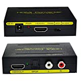 OFKP® HDMI to HDMI and Optical TOSLINK SPDIF + Analog RCA L / R Stereo Audio Extractor Converter HDMI Audio Splitter Adapter (HDMI Input, HDMI + Digital / Analog Audio Output)