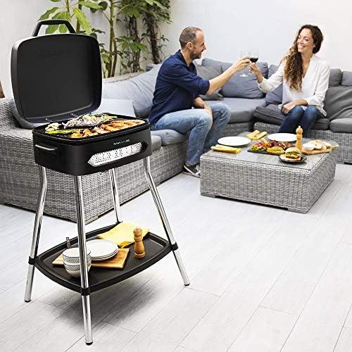 Cecotec Barbecue électrique PerfectCountry BBQ. avec Pieds, Couvercle et Plateau inférieur, Revêtement Rockstone, Plateau ramasse-Graisse, Surface 43 x 38cm, Température réglable, 2000 W