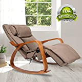 OWAYS Massage Chair 3D Full Back Massager with Cushion, Rocking Design Recliner Chair, Adjustable Pillow, Vibrating and Heating, 6 Massage Modes, Wooden Handrail, Linen Cover with Zipper