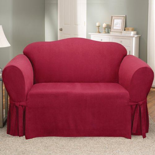 Sure Fit Soft Suede 1-Piece  - Loveseat Slipcover  - Burgundy (SF35339) - Futon Cover Soft Suede